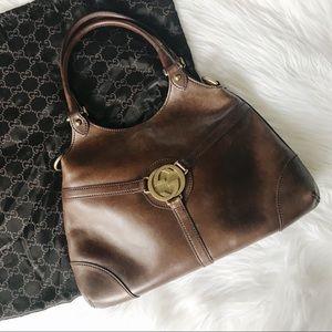 Gucci Dark Brown Leather Hobo Bag Big Logo